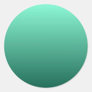 Aquamarine to Castleton Green Horizontal Gradient Round Sticker