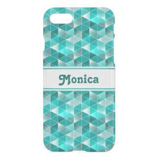 Aquamarine Triangles Pattern Customisable iPhone 7 Case
