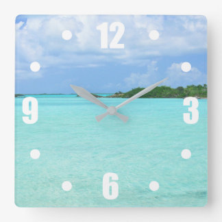 AQUAMARINE WATER, BLUE SKY/ CARIBBEAN SCENERY SQUARE WALL CLOCK