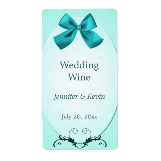Aquamarine Wedding Wine Label