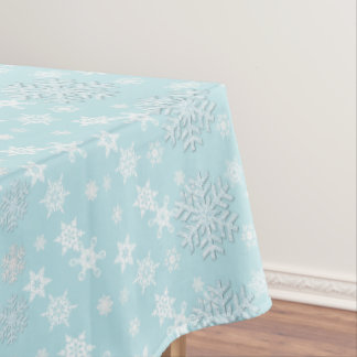Aquamarine with Snowflakes Holiday Table Cloth