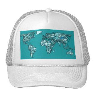 aquamarine world map trucker hat