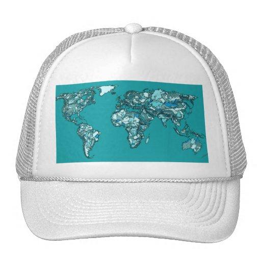 aquamarine world map trucker hats