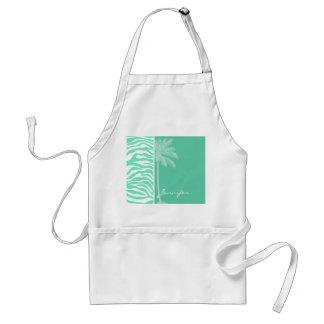 Aquamarine Zebra Animal Print; Summer Palm Standard Apron