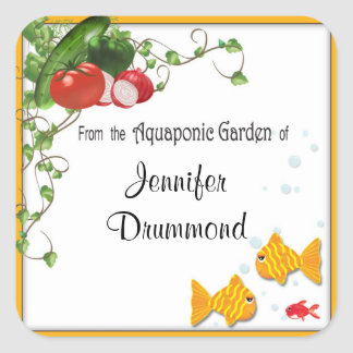 Aquaponic gardener labels square sticker