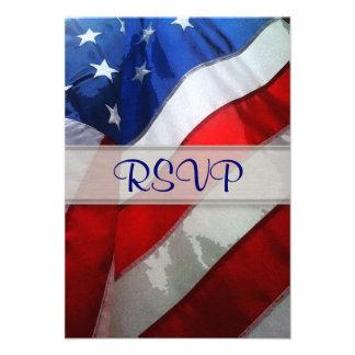 Aquarelle accrochante de drapeau américain invitation personnalisée