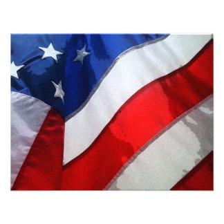 Aquarelle accrochante de drapeau américain invitations personnalisées