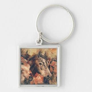 Aquarelle artistique de chevaux peignant porte-clé carré argenté