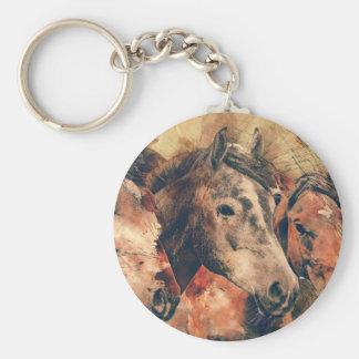 Aquarelle artistique de chevaux peignant porte-clé rond