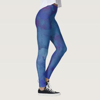 aquarelle bleuâtre, bleu abstrait élégant leggings