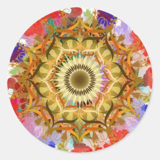 Aquarelle d'art de fleur de Lotus de damassé de Sticker Rond