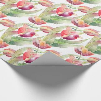 Aquarelle exotique de tulipes de ressort florale papiers cadeaux