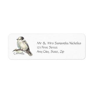 Aquarelle grise, oiseau de ressortissant du Canada Étiquettes D'adresse Retour