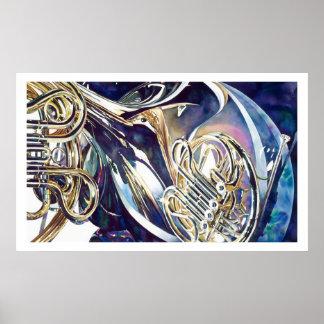 Aquarelle légère de recourbement d instruments posters