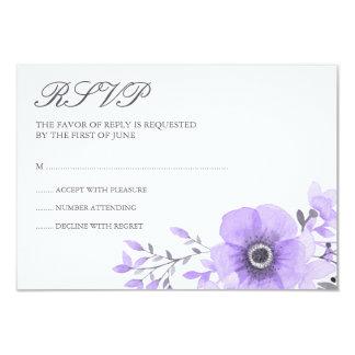 Aquarelle pourpre et grise RSVP l'épousant floral Carton D'invitation 8,89 Cm X 12,70 Cm