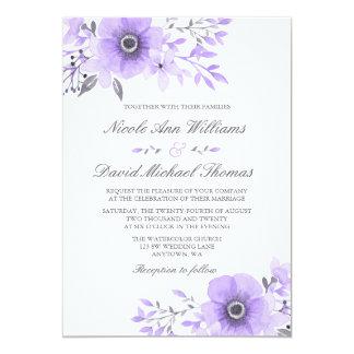 Aquarelle pourpre et grise v2 l'épousant floral carton d'invitation  12,7 cm x 17,78 cm