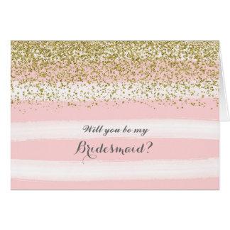 Aquarelle rose vous serez ma carte de demoiselle