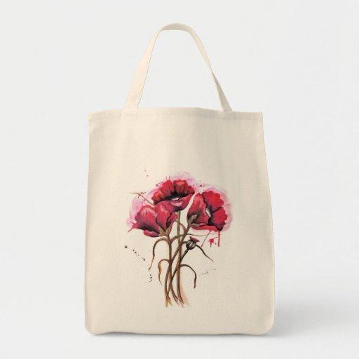 Aquarelle rouge de pavot sacs