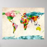 Aquarelles de carte du monde posters