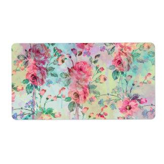 Aquarelles florales de peinture de roses étiquettes d'expédition