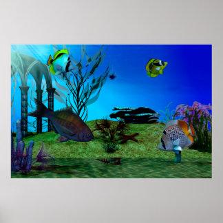 Aquarium 3D Digital Art Poster