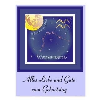 Aquarius 21 January until 18 February postcard