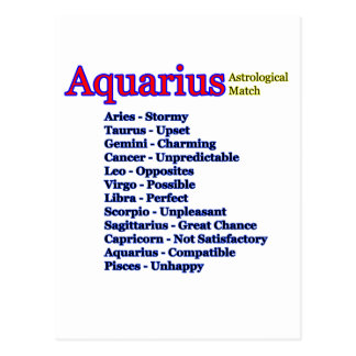 Aquarius Astrological Match jGibney The MUSEUM Zaz Postcard