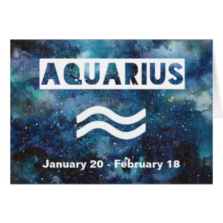 Aquarius Astrology Blue Watercolor Galaxy Birthday Card