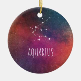 Aquarius Astrology Round Ceramic Ornament
