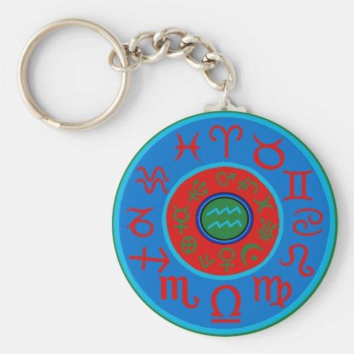 Aquarius Astrology Zodiac Keychain