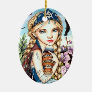 Aquarius Ceramic Oval Ornament