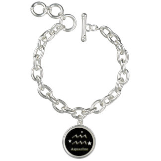 Aquarius chrome symbol charm bracelets
