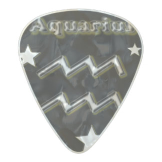 Aquarius chrome symbol pearl celluloid guitar pick