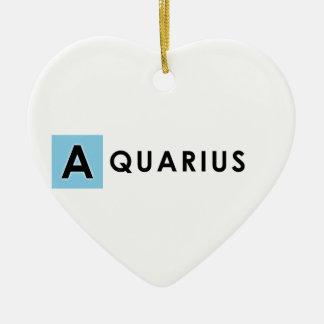 AQUARIUS COLOR CERAMIC HEART ORNAMENT