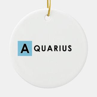 AQUARIUS COLOR ROUND CERAMIC ORNAMENT
