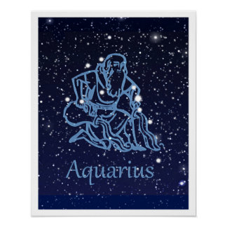 Aquarius Constellation and Zodiac Sign with Stars Poster