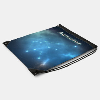 Aquarius constellation drawstring bag