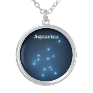 Aquarius constellation silver plated necklace