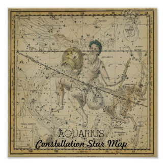 Aquarius Constellation Star Map January Poster