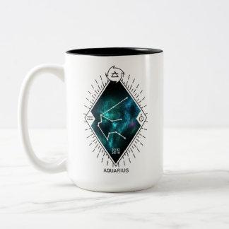 Aquarius Constellation & Zodiac Symbol Two-Tone Coffee Mug