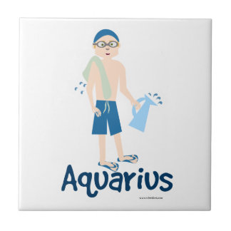 Aquarius Cute Water Bearer Symbol Tile