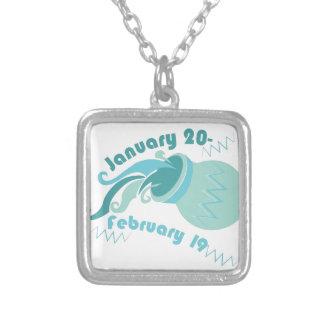 Aquarius Dates Square Pendant Necklace