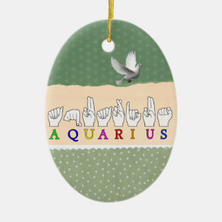 AQUARIUS FINGERSPELLED ASL ZODIAC SIGN CERAMIC ORNAMENT