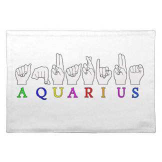 AQUARIUS FINGERSPELLED ASL ZODIAC SIGN PLACEMAT