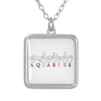 AQUARIUS FINGERSPELLED ASL ZODIAC SIGN SILVER PLATED NECKLACE