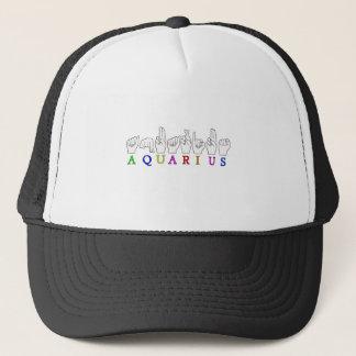 AQUARIUS FINGERSPELLED ASL ZODIAC SIGN TRUCKER HAT