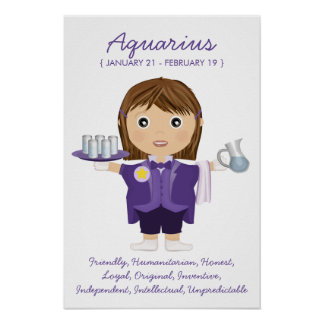 Aquarius - Girl Horoscope Poster