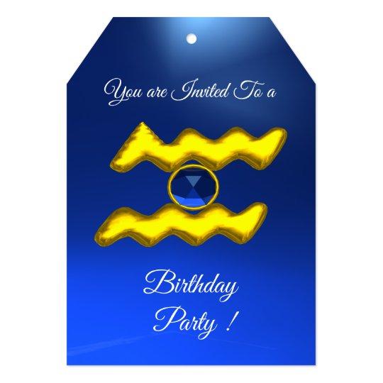 AQUARIUS Gold Aqua Blue Zodiac Birthday Party Card