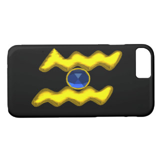 AQUARIUS /GOLD ZODIAC BIRTHDAY JEWEL iPhone 8/7 CASE