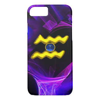 AQUARIUS GOLD ZODIAC SIGN Blue Purple Fractals iPhone 8/7 Case